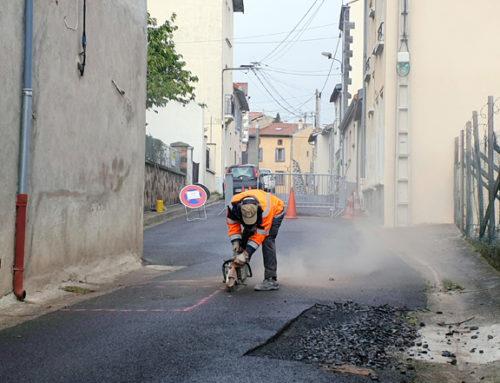 Des travaux en cours rue du Château en centre-bourg